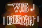 Web Design word on vintage bokeh background, concept sign — Stok fotoğraf