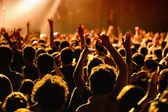 Crowd in a concert at Razzmatazz stage — Stock Photo
