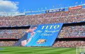 Banner in memory of former head coach Tito Vilanova, — Stock Photo