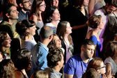 Audience in a concert at Razzmatazz discotheque — Stock Photo