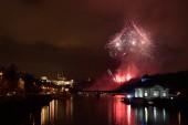New Year's fireworks in Prague, Czech Republic — Stock Photo