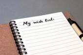 Write your wish list on notebook — Foto de Stock