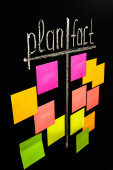 Plan and fact with color sticky notes — Foto de Stock