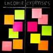 Comparison of income and expenses with color sticky notes — Zdjęcie stockowe #57922699