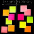 Comparison of income and expenses with color sticky notes — Stok fotoğraf #57922699