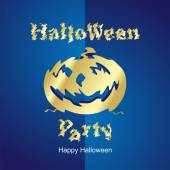Halloween Gold Party new blue background — Stockvektor