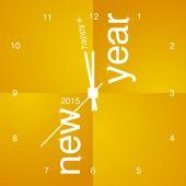 New Year 2015 orange clock design — Stock Vector