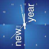 New Year 2015 blue clock design — Stock Vector