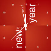 New Year 2015 red clock design — Stock Vector
