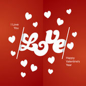 Love white logo red background — Stock Vector