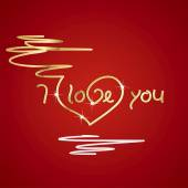 I love you gold red background vector — Vettoriale Stock