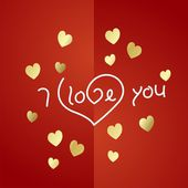 I love you gold heart background vector — Stock Vector