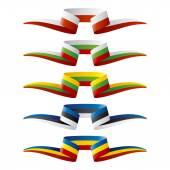 Colore astratto East Europe flag ribbon — Vettoriale Stock