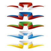 Abstract color European flags ribbon — Stock Vector