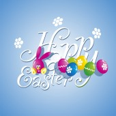 Easter color rabbit eggs blue background — Stok Vektör