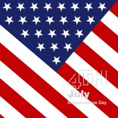 4th July silver logo US flag background — Stock Vector