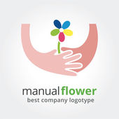 Two hands holding colored flowers. Vector nature logotype isolated on white background — Stock Vector