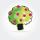 Abstract vector apple tree icon isolated on white background — Vetorial Stock