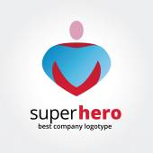 Abstract vector super hero logotype concept isolated on white background. Key ideas is business, team, sport, command, leadership, boss. Concept for corporate identity and branding — Stock Vector