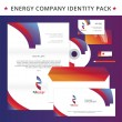 Abstract energy identity pack vector concept. Logo, vizit cards, cd, letter, usb flash drive, folder and other id blanks. Good for company branding set. — Stock Vector #55973825