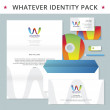 Abstract letter W identity pack vector concept. Logo, vizit cards, cd, flash drive, pencil, letter, folder and other id blanks. Good for company branding set. — Stock Vector #55973993
