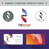 Abstract energy identity pack vector concept. Vizit cards, folder, cd, letter and other id blanks. Good for company branding set. — Stock Vector
