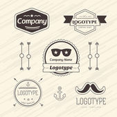Abstract vector vintage logo design elements set. Arrows, labels, ribbons, symbols. Vector illustration — Stock Vector