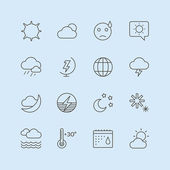 Weather Icons Vector Set. Moon, Sky or Wind and Cloud symbols. Stocks Design Element. — 图库矢量图片