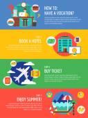 Powołanie letnich podróży plansza. Lato, wakacje i morze. Pień ilustracje wektorowe dla projektu. — Wektor stockowy