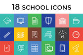 Back to school 16 vector icons set. Science objects, or university and college symbols. Stock design elements — Stockvektor