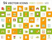 Vector objects icons set. Business or School and Money symbols. Stock design elements — Vector de stock