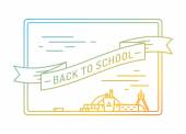 Back to school. Education, books, university and college, board or knowledge, book. Stock design elements — 图库矢量图片