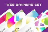Web banner infographic template set. Processes presentation and information design, web structure, creative idea or paper, pattern, arrows, graph. Stock illustration. Design vector element. — Stock Vector