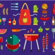 BBQ and Food Icons Vector Set. Outdoor, kitchen, meat and grill, burger, eat food symbols. Stock design elements. Key ideas is outdoor food, barbecue party, black icons, logo elements. — Stock Vector #79391752