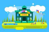 Cute vector cartoon school building illustration background — Stock Vector