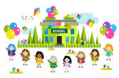 Cute vector cartoon girls from different countries playing near school building — Stock Vector