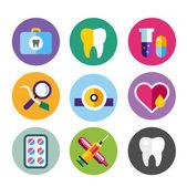 Dental vector icons set clinic logo — Stock Vector