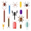 Постер, плакат: Spiders and scorpions dangerous insects animals vector cartoon flat illustration
