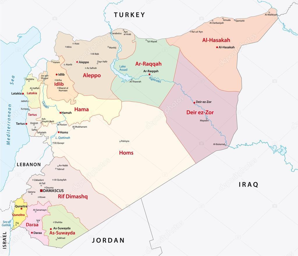 シリアの行政地図 — ストックベ...