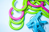 Colorful clothes hangers . — Stock Photo