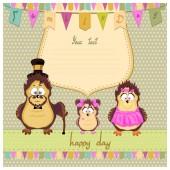 Happy family of owls — Stock Photo