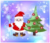 Santa Claus and elegant Christmas tree in the snow — Stock Photo