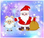 Santa Claus and sheep with his staff and his bag in the snow — ストック写真