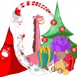 Santa Claus with sweets in a long beard tree with gifts and toys — 图库照片 #57132855