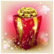Christmas red gift box with gold bow — Stock Vector #57147223