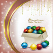 Christmas box with colored balls on pink background — Zdjęcie stockowe #57844139