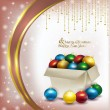 Christmas box with colored balls on pink background — Stok fotoğraf #57844139