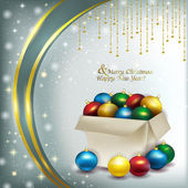 Christmas box with colored balls on a bright background — Stock fotografie