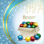 Christmas box with colored balls — Stock fotografie