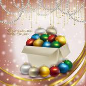 Christmas box with colored balls on pink background — Stock Photo